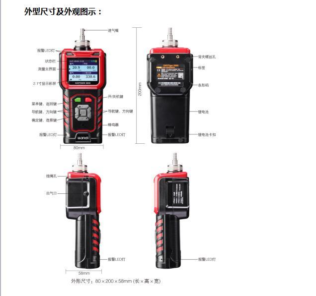 便携式复合型工业级可燃气体和含氧二合一传感器